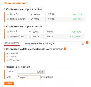 Exemple de virement interbancaire chez ING Direct