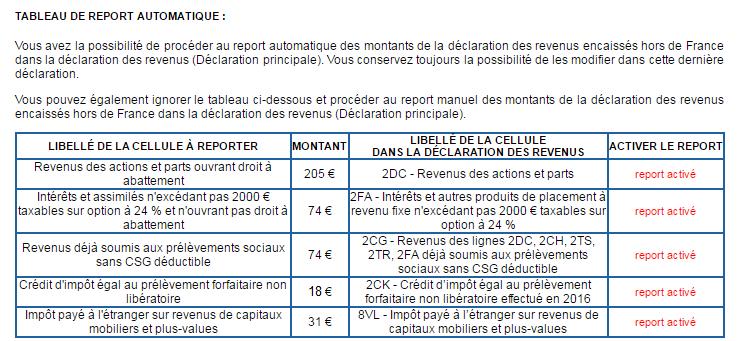 Report des montants calculés - formulaire 2047